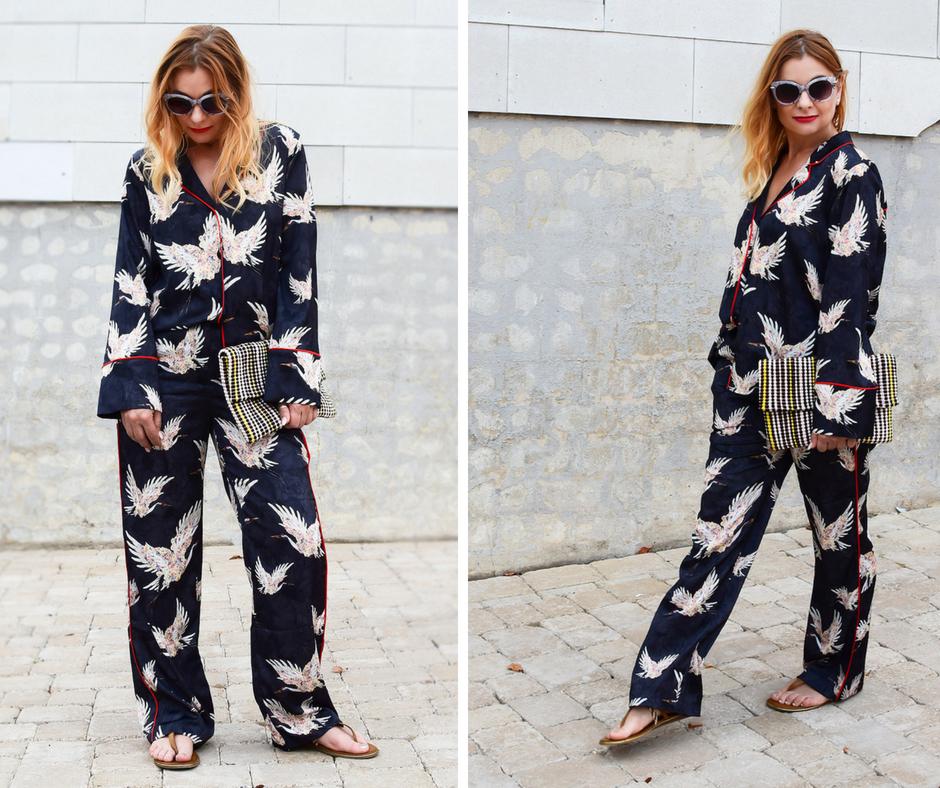 Pyjama auf der Straße, Trendlook Pyjama