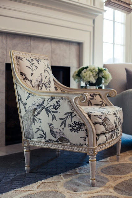 bergere chair bird print fabric