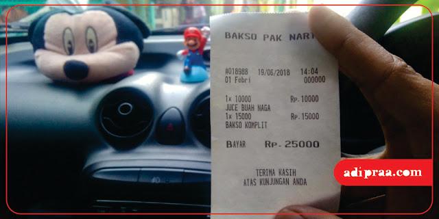 Harga Bakso Komplit dan Juice Buah Naga | adipraa.com