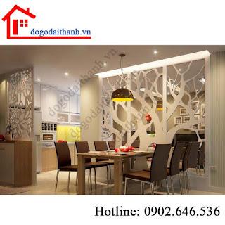 Nội thất phòng khách và bếp, vách gỗ phòng khách đẹp