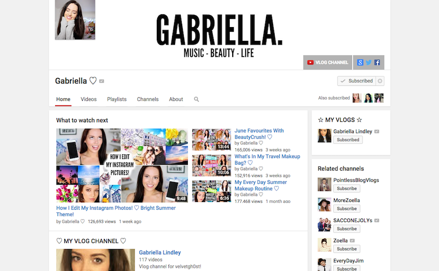 youtube, you tube, vloggers, vlog, current obsession, VelvetGh0st, Gabriella Lindley