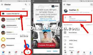 langkah membuat PIN custom gratis bbm