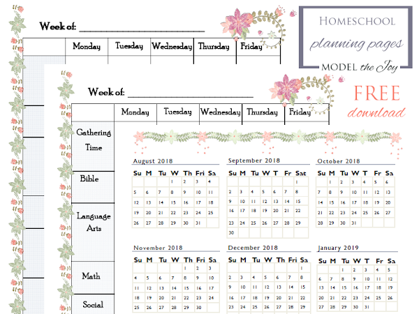 Homeschool Planning - Yearly Calendar & Weekly Grid