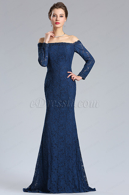 Long Sleeves Blue Overlace Evening Dress