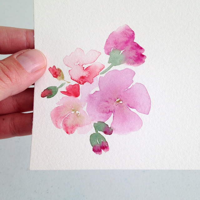 Watercolor Pink Flowers painting by Elise Engh