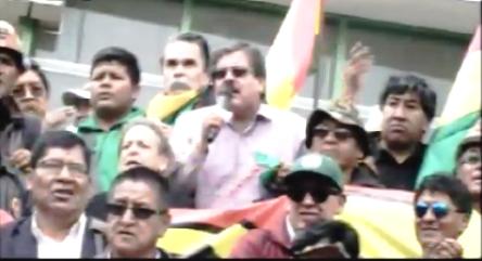 Albarracín encabezó encendido discurso contra régimen de Morales / Captura pantalla PTV