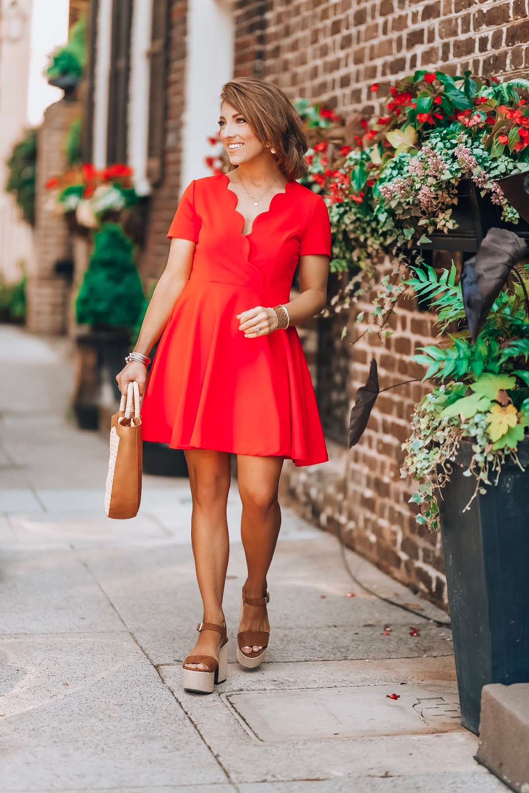Under $60 Scallop Red Dress in Charleston - Something Delightful Blog #springstyle