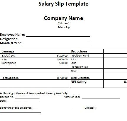 ... Salary Employee Template   Basic Payslip Template ...  Free Wage Slip Template