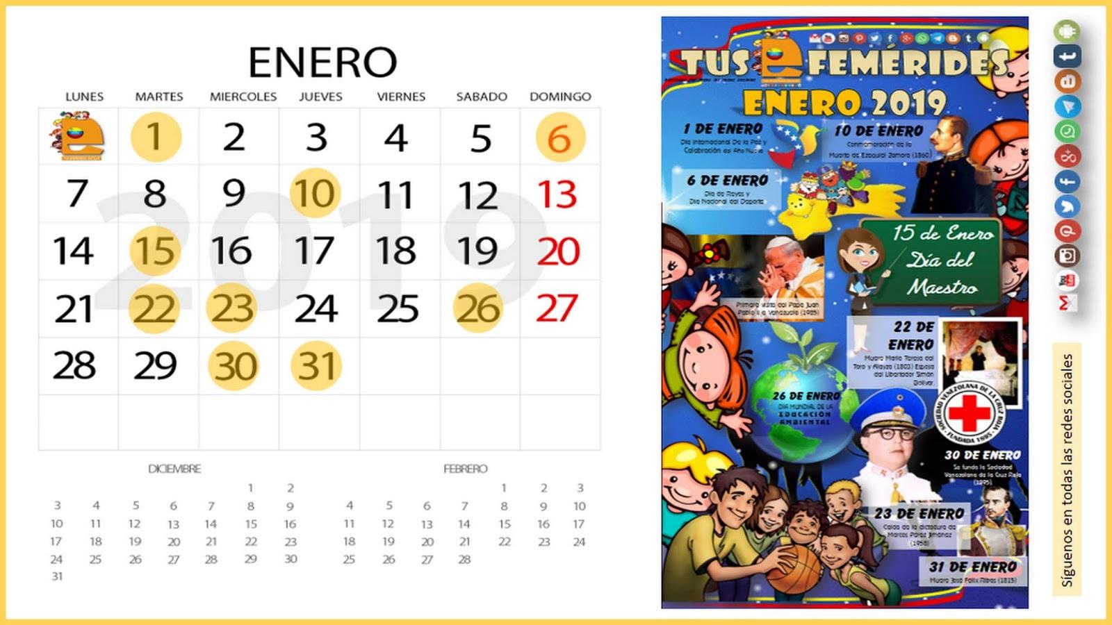 Calendario Enero 1978.Tus Efemerides Escolares 2018