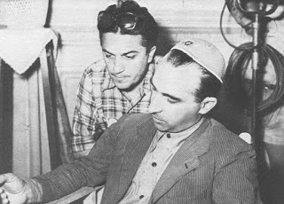 Lattuada with Federico Fellini (left) on the set of the latter's first movie in 1950