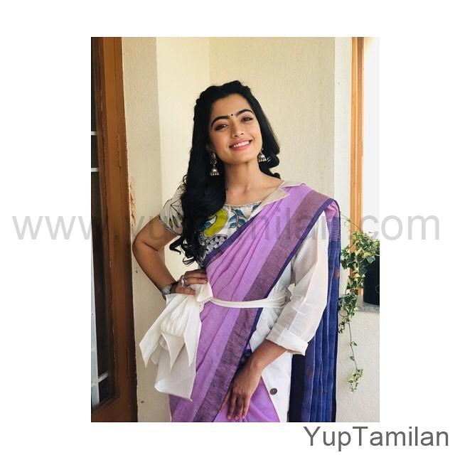 Rashmika-Mandanna Hot Saree Stills-Beautiful Saree Pics