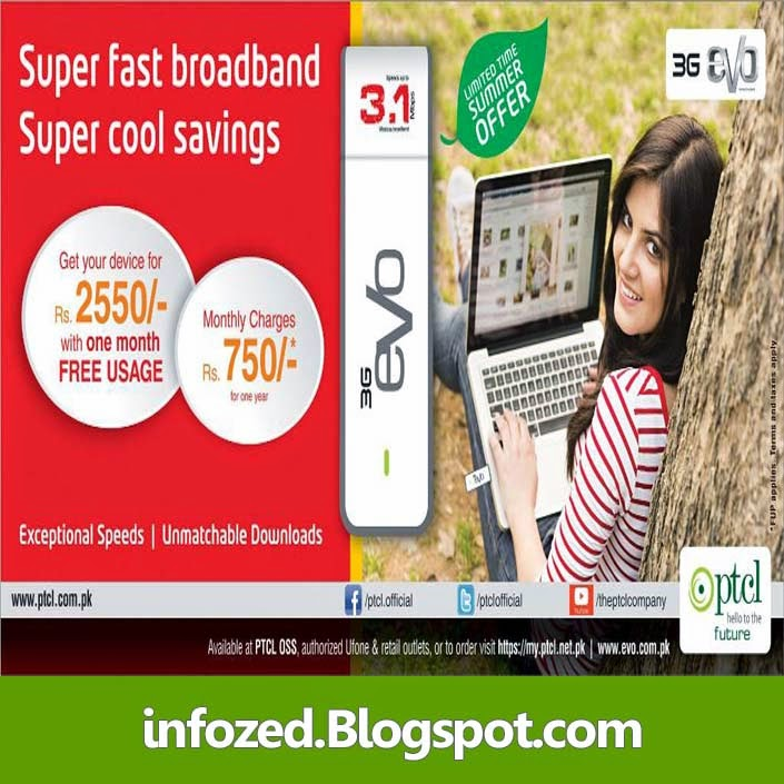 PTCL EVO New Promotion Fast Broadband 3G EVO
