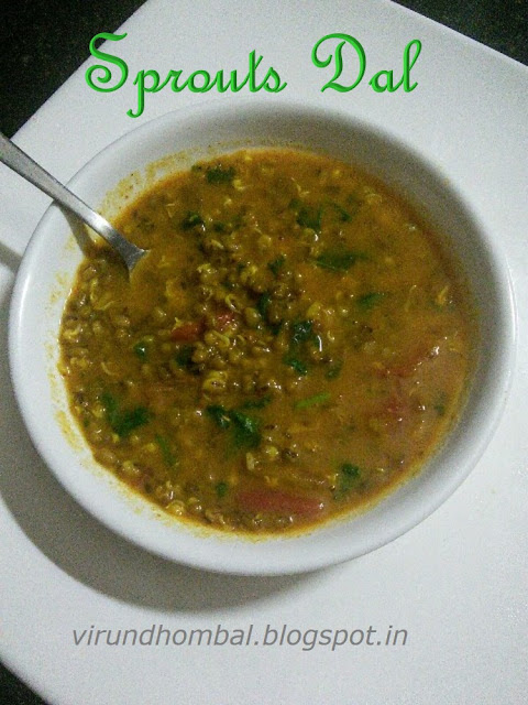 Sprouts dal, Healthy side dish for roti with zero oil