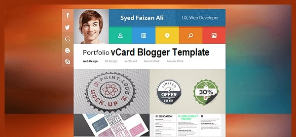 vCard Portfolio Single Page Blogger Template Free Download
