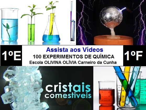 Experimentos de Química dos alunos (1º E e F) da Escola Olivina Olívia Carneiro da Cunha