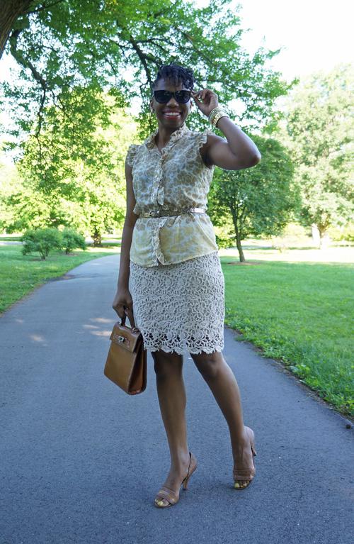 f1588bf17 Top—Banana Republic Factory Store (seen in a 2008 post) Skirt—Kenar via  Marshalls Belt—Banana Republic Shoes—Tahari Bag—Marina Rinaldi (family  gift) ...