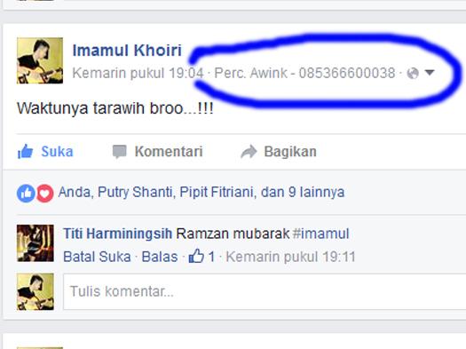 Update Status Via Facebook Terbaru