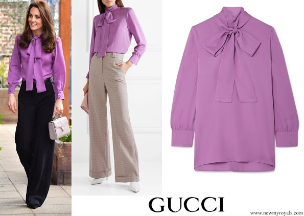 Kate Middleton wore a new pussy-bow-silk-crepe blouse by GUCCI