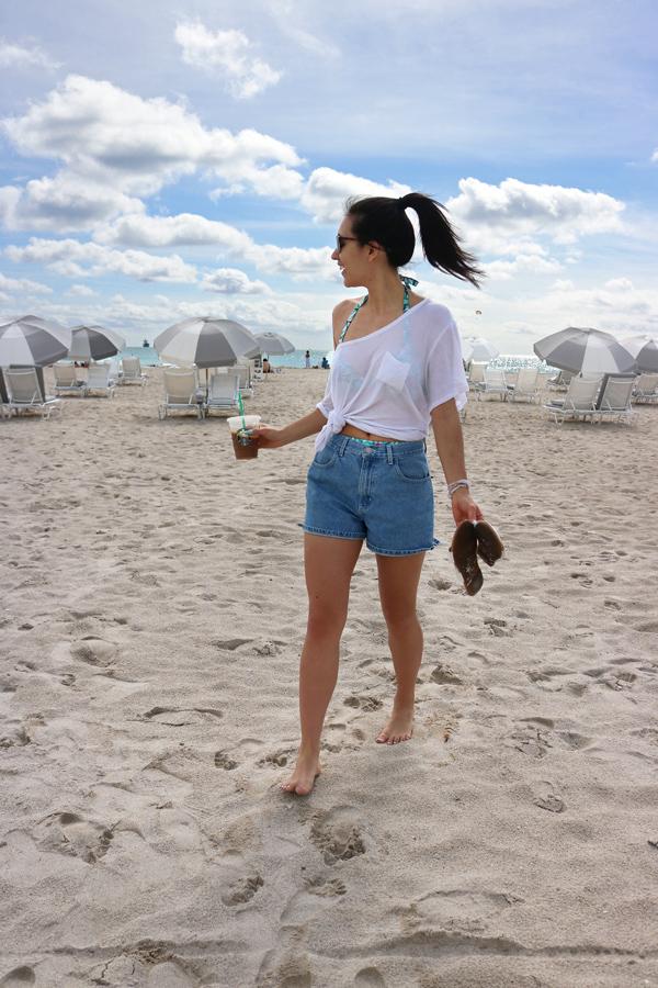 Casual Summer Beach Outfit Denim Shorts White T-Shirt