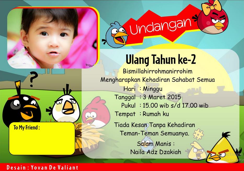 Fathonan Desain Undangan Ulang Tahun Anak Karakter Angry Birds Lucu Cdr