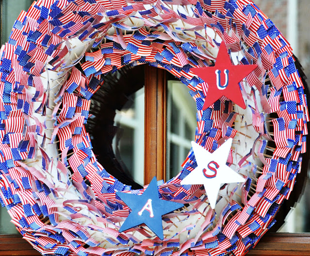 American flag red white blue 4th of July patriotic USA wreath