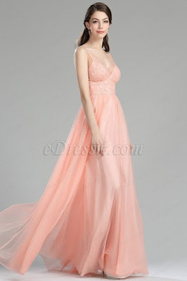 Blush lace bridesmaid dress V neck