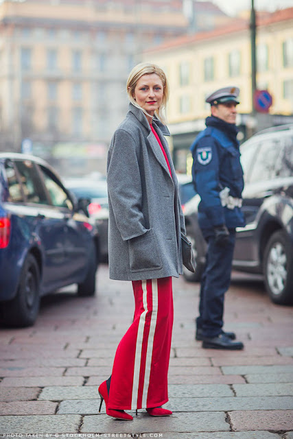 spring 2016, spring trends, track pants, side stripe pants, street style, athleisure, adidas looking pants, red and grey
