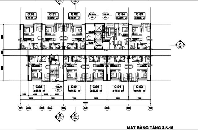 Sơ đồ mặt bằng thiết kế Tòa T3 chung cư B1.3 Thanh Hà
