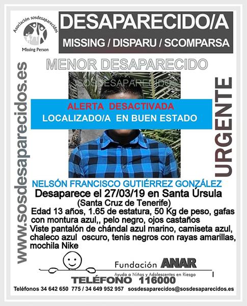 Localizado en buen estado el niño de 13 años en Santa Úrsula, Tenerife