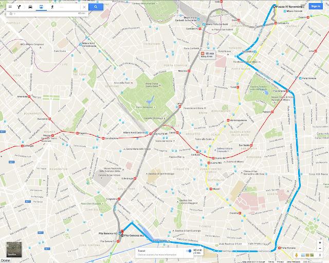 Milan Tram 9 interactive Google route map from Milano Centrale railway station. Piazza della Repubblica, Porta Venezia, Porta Vittoria, Porta Romana, Porta Ticinese, Porta Genova railway station