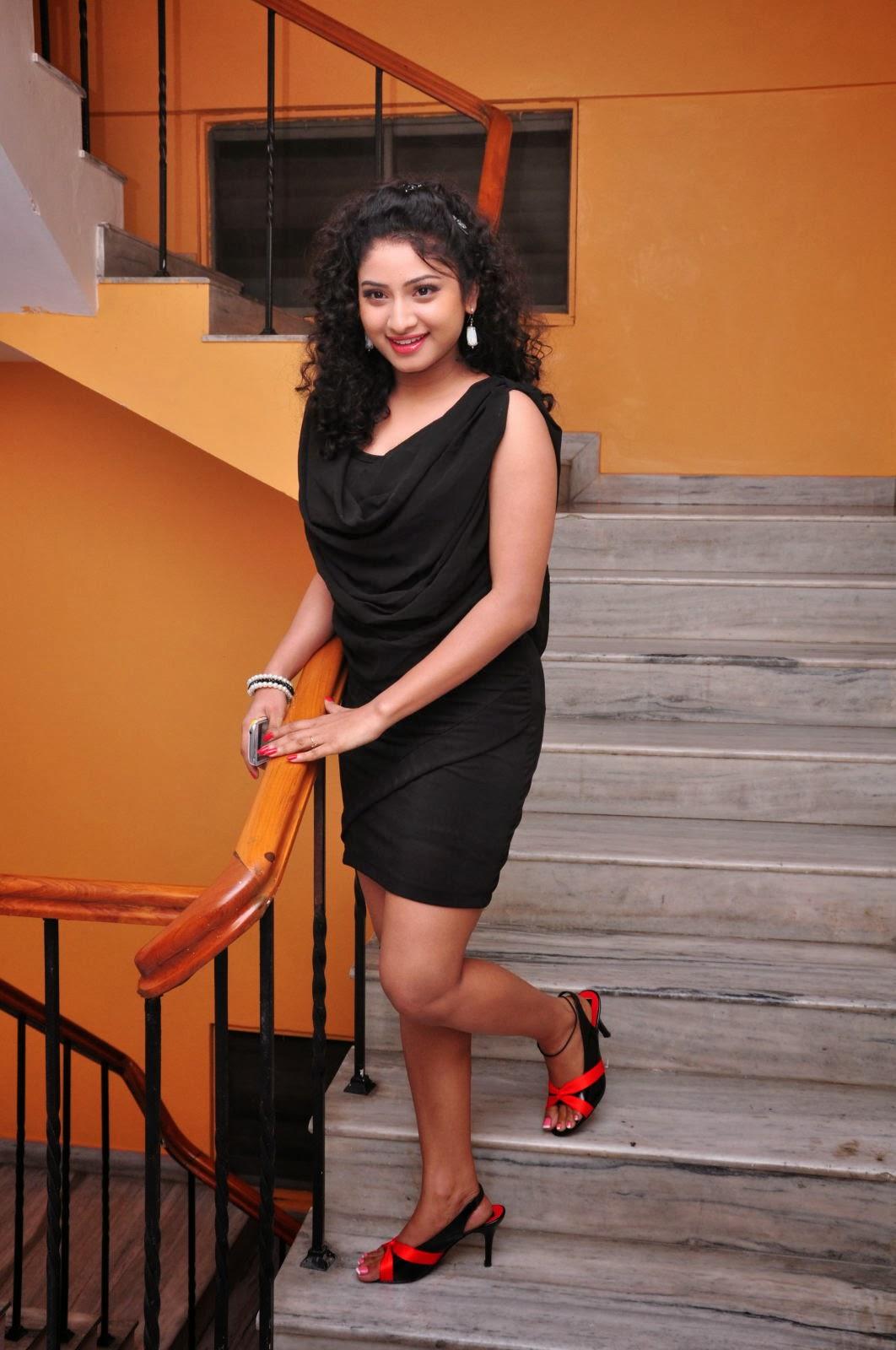 Hot and sexy Vishnu priya hot in black short dress