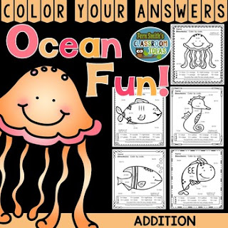 Addition Ocean Fun - FIVE Color By Numbers Printables for some Ocean Math Fun in your classroom! Looking for a resource to excite and engage your students? Print this packet, add it to your weekly plans and you're all done. Your students will love working on these skills during seat work, bellwork, center time, small group lessons, morning work, tutoring... they are even perfect for homework! Are your parents asking for extra work for their children? #FernSmithsClassroomIdeas