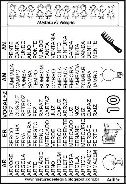 Fichas leitura das sílabas complexas