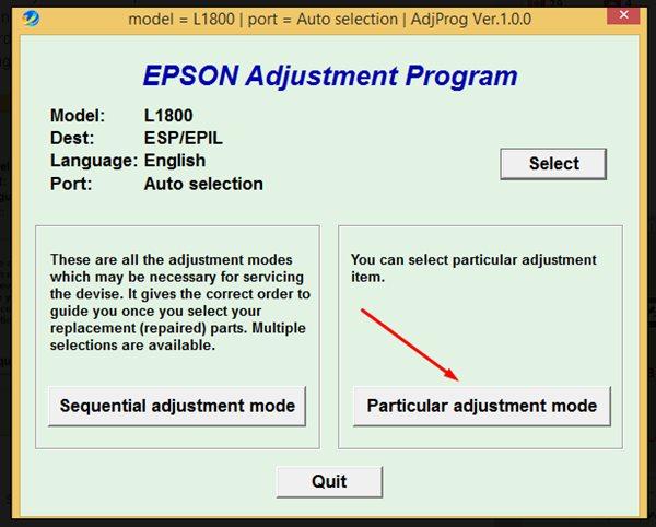 Reset Epson L1800