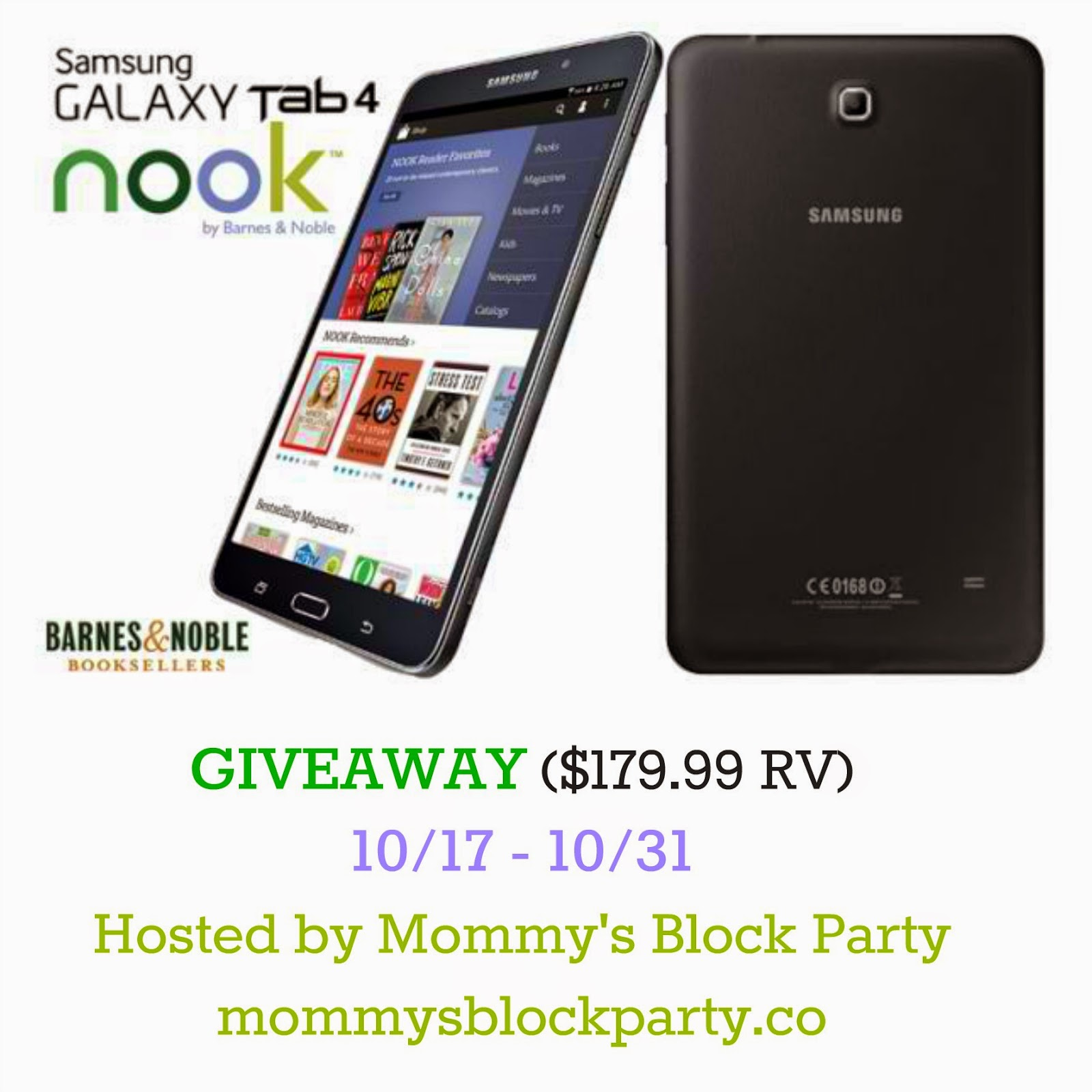 Giveaway: Samsung Galaxy Tab 4 NOOK ends 10/31