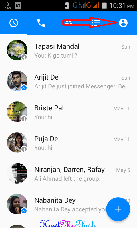 Profile or Setting from Messenger