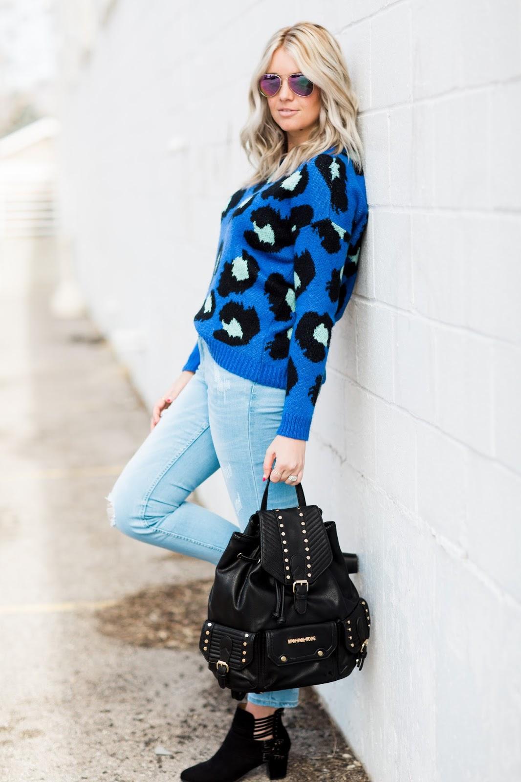 Utah Fashion Blogger, Blue Leopard Print, Backpack