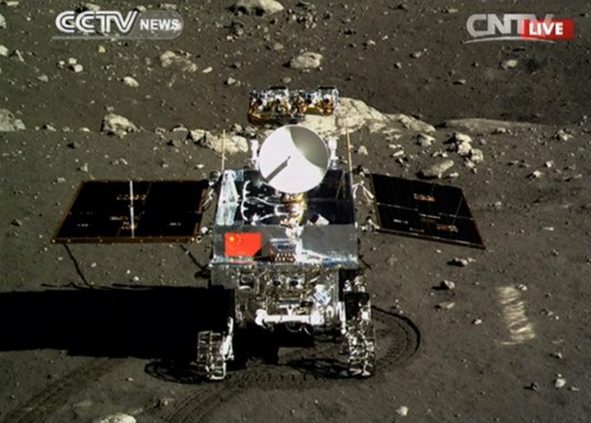 YUTU rover with chang'e 3 spaceship on moon
