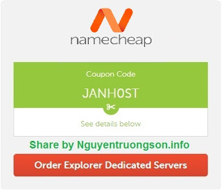 Namecheap Coupon 2019 - Giảm giá tới 60% Máy chủ chuyên dụng Explorer.