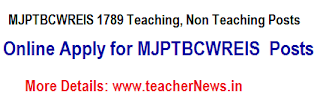 MJPTBCWREIS 1789 Teaching, Non Teaching Posts Online Apply