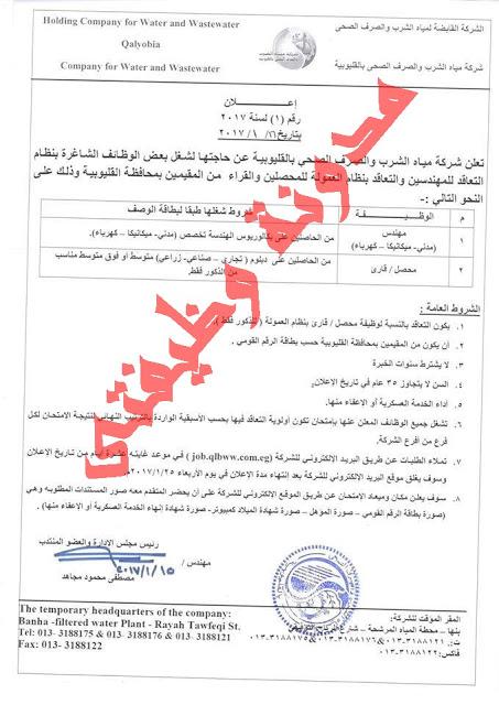 وظائف خالية في الشركه القابضه لمياه الشرب والصرف الصحى للمؤهلات العليا 2018