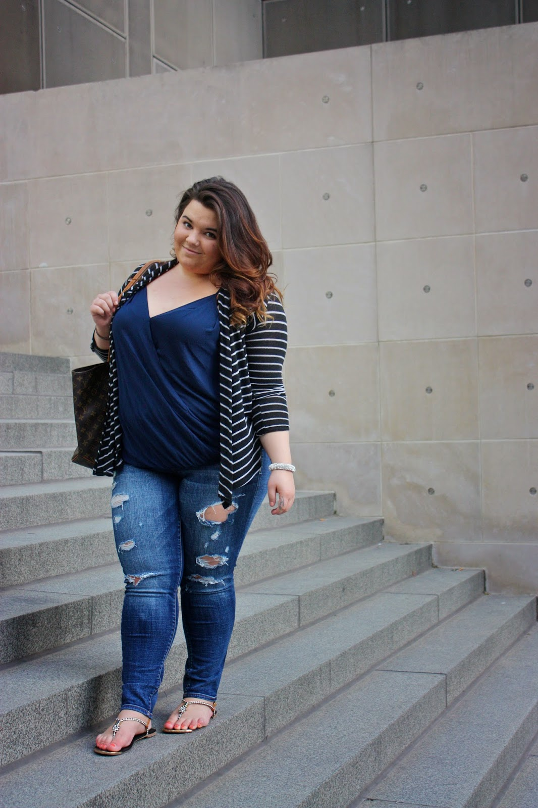 curvy fashionista, Destroyed denim, american eagle jeans, louis vuitton tote, stripes, cardigans, swarovski bangle, missimo sandals, forever 21 plus size, curly hair, ombre, deep neck, plus size fashion blogger, natalie craig, natalie in the city, chicago, spring style 2014, fashion blogger, plus size