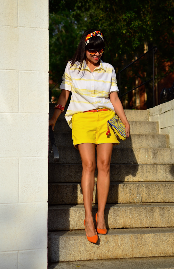 What to wear with yellow shorts