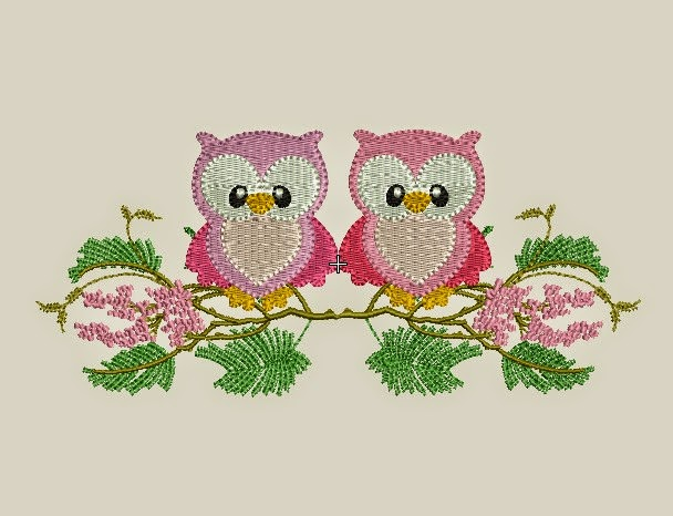 Download Free 2 Owl Design Machine Embroidery