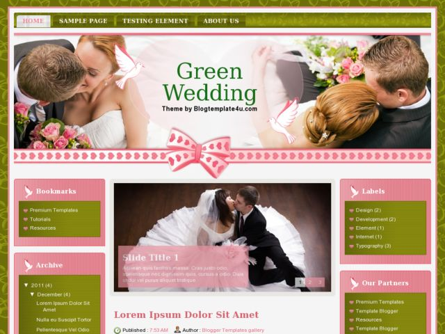 Green Wedding Blogger Template