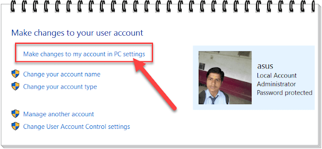 Make changes to my account in PC setting