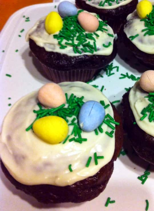 Easter Chocolate Cupcakes w/ Buttercream Frosting and Mini Chocolate Eggs