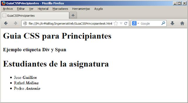Hojas de Estilo en Cascada CSS, Span