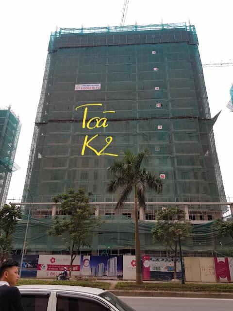 Tòa K2 nằm ở giữa trong 3 tòa, hiện đang được thi công đến tầng 21