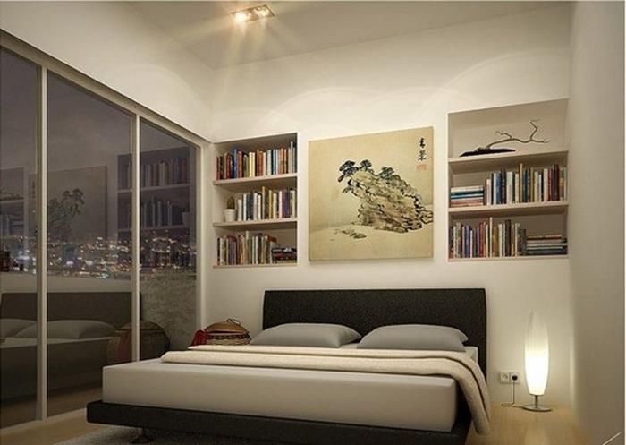 japon tarzı minimalist yatak odası dekorasyonu